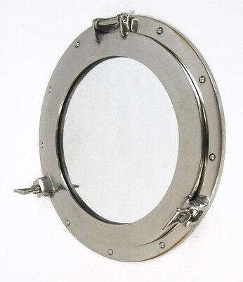 """Large Aluminum Chrome Finish 17"""" Ships Porthole Mirror Round Nautical Wall Decor"""