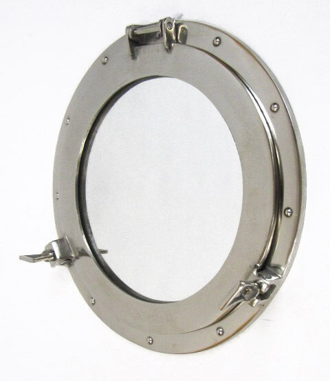 "Large Ships Porthole Mirror 17"" Aluminum Chrome Finish Round Nautical Wall Decor"
