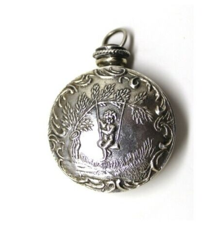 Art Nouveau-STERLING Silver Mini Perfume Scent Bottle-Repousse Cherub Putti
