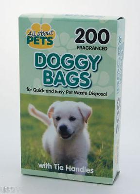 600 BLACK  DOG DOGGY BAG BAGS  POO BAGS TIE HANDLES FRAGRANCED