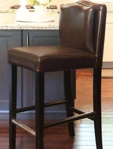 Three Brown Leather Counter Stools