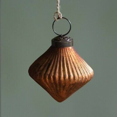 1 Warm Gold Glass Ribbed Lantern Bauble, Vintage Mercury Xmas Decoration Copper