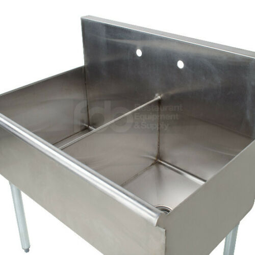 "36"" 2 Compartment 18"" x 21"" x14 Stainless Steel Commercial Utility Prep Two Sink"