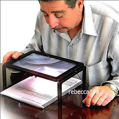 3 Fach Große Leselupe Lupe Tischlupe Lesehilfe Standlupe Vergrößerungsglas LED