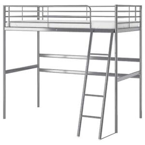 Single loft bed with spring mattress