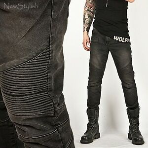 New Mens Fashion Cool Tough Chic Designer Washed Black Skinny Biker