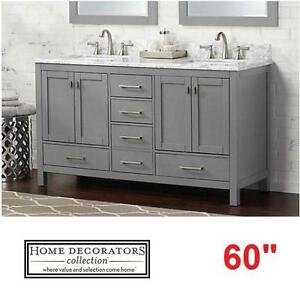 "NEW* HDC 60"" FRANKLIN VANITY COMBO - 113648980 - HOME DECORATORS GRAY CABINET WHITE MARBLE TOP BATH BATHROOM VANITIES..."