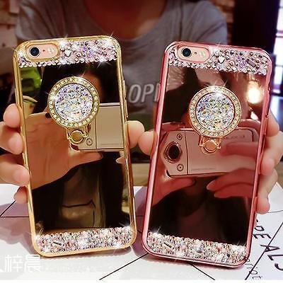 (Mirror Bling Diamond Rhinestone Ring Kickstand Case Cover For Various Phone #1)