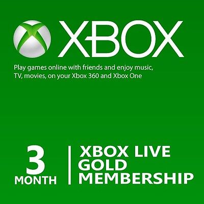 Microsoft 3 Month Xbox Live Gold Membership Subscription ...