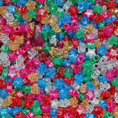 Star shaped Pony Beads Multi Translucent with Glitter Sparkle for crafts kandi](Plastic Star Beads)