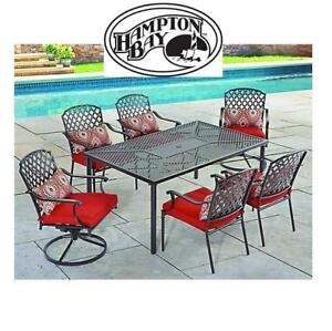 NEW HAMPTON BAY 7PC PATIO SET FSS60460D-ST 197173642 KINGS SQUARE DINING SET WITH RED CUSHIONS