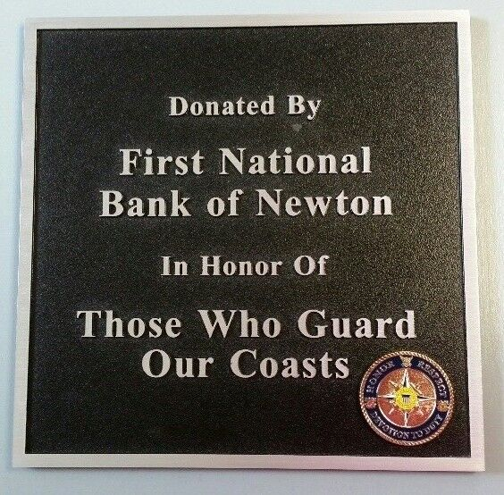 "USCG U.S. Coast Guard First National Bank Cast Aluminum Singage Plaque 9"" Square"