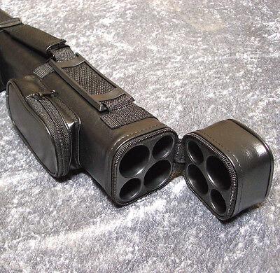 Billard 2/2er Queue Koffer Tasche Köcher glatt matt schwarz mit Schutzeinsatz