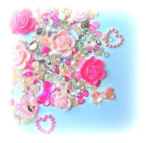 10g MIXED Flatbacks - PINK PEARLS & FLOWER CABOCHONS - CANDYFLOSS MIX - DECODEN