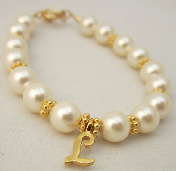 Baby and Child Bracelet with White Pearl with Gold Initial Charm Personalized