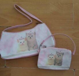Cat handbag and matching purse