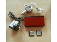 Metalic Red DS Lite with New Super Mario Bros & Pokemon Platinum version