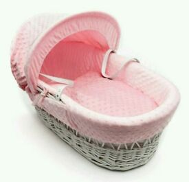 Kinder valley pink Dimple with white Wicker moses basket. Brand new. 5 plc left only.