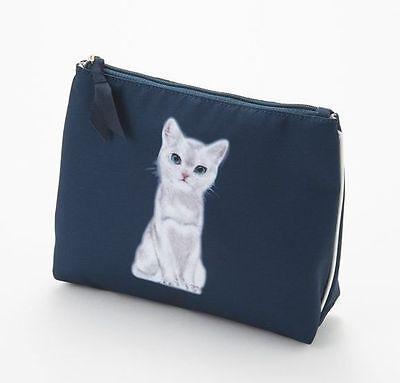 New Paul & Joe Sister Cosmetic Bag Pouch Cat Navy Meow Japan-LTD Rare!