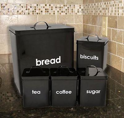 Tea Coffee Sugar Canisters 5 Piece Jar Bread Bin Kitchen Tin Storage Set Black