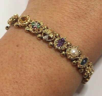 14k Yellow Gold Ruby Emerald Sapphire Tanzanite Diamond Bali SLIDE Bracelet 7.5""