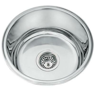compact single round bowl stainless steel boat caravan inset kitchen sink m12 - Compact Kitchen Sink