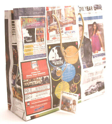 Recycled Newspaper Gift Bags Jute Handles from India Fair Trade (Pk of 10) Large