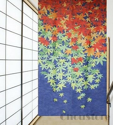 Japanese Noren Door Curtain with Colourful Red Leaf Pattern E22