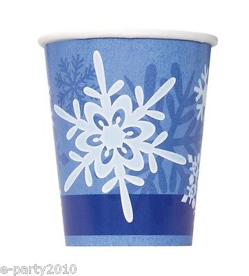 WINTER SNOWFLAKE 9oz PAPER CUPS  (8) ~ Birthday Party Supplies Blue White Drink ()