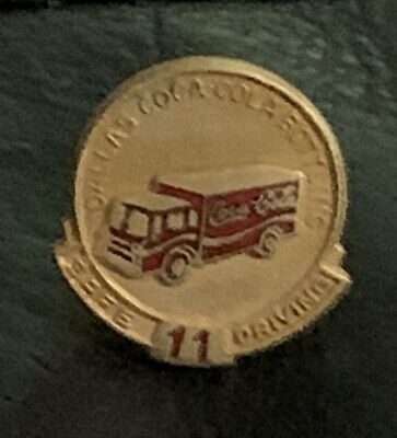 Dallas Coca Cola Bottling 11 Years Safe Driving Award Pin 1970's