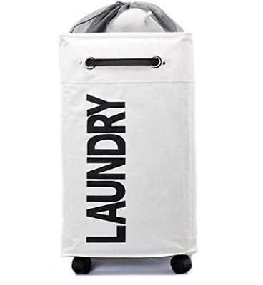 AcmeSoy Rolling Laundry Basket with Wheels - Foldable Clothe