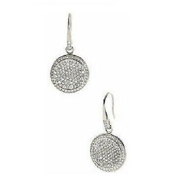 NEW MICHAEL KORS CONCAVE SILVER TONE,PAVE CRYSTALS DISK DROP EARRINGS MKJ2073