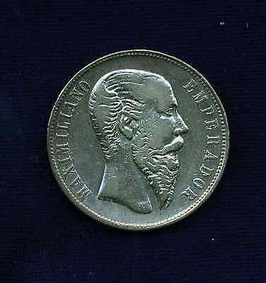MEXICO EMPIRE  OF MAXIMILIAN 1866-Mo 50 CENTAVOS SILVER COIN, VF/XF