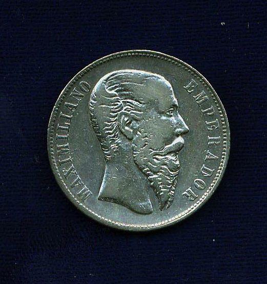 MEXICO EMPIRE  OF MAXIMILIAN 1866-Mo 50 CENTAVOS SILVER COIN, VF/XF