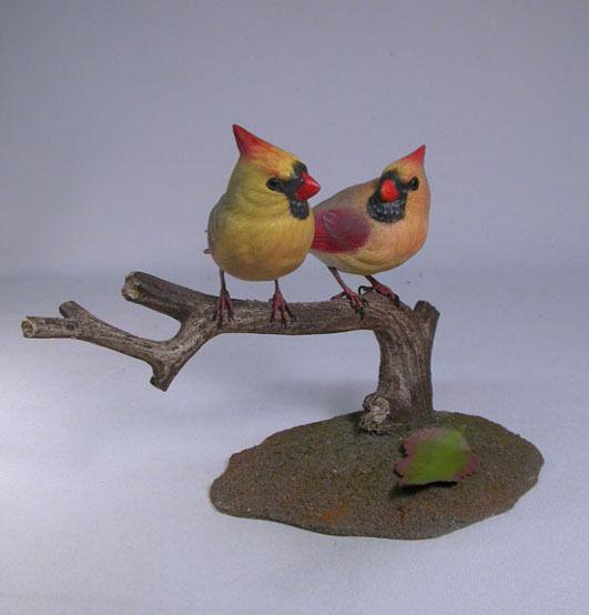 Female Cardinal Pair Original Wood Carving/Birdhug
