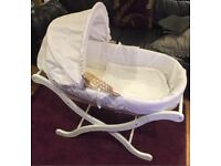 Beautiful Broderie Anglais Moses basket with stand