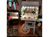 Candy cart and popcorn