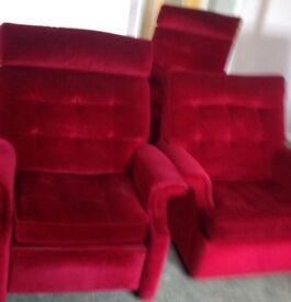 3 x red velvet armchairs