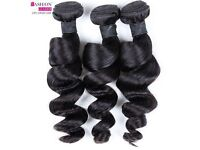 Peruvian Virgin loose Wave (curly) hair extensions, 3 Bundles (14 inches) Natural color