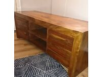 TV unit in solid cherry wood.
