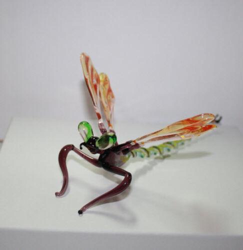 Art Blown Glass Murano Figurine  Glass Dragonfly Figurine #2