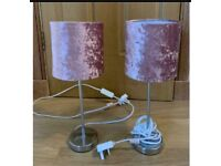 Two dusky pink lamps