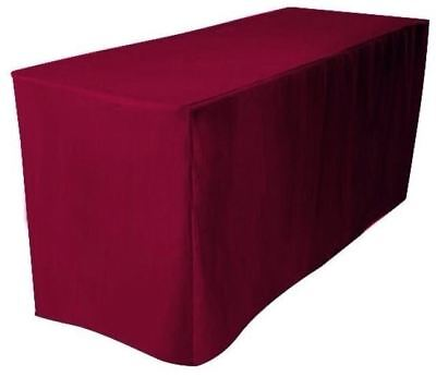 8 Ft. Feet Fitted Polyester Tablecloth Trade Show Booth Table Cover Burgundy