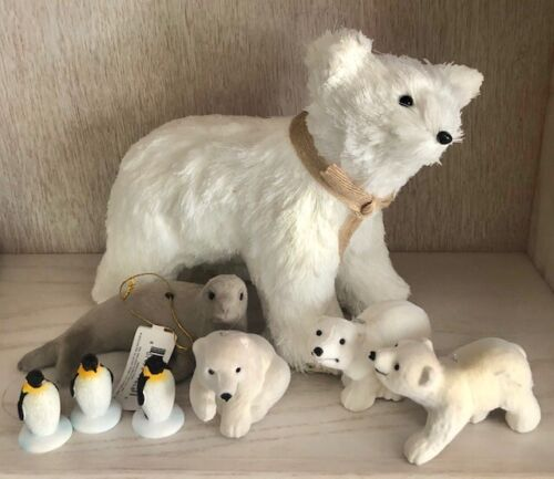 Polar bear + Baby Polar Bear + Penguin + Seal Figurine Global Warming Project