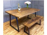 Vintage reclaimed shabby chic industrial steel pine solid oak farmhouse dining table and bench