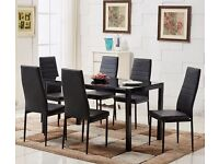 Black glass dining table 6 seater