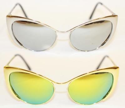 Cat Eye Sonnenbrille voll metall gold silber Rockabilly 478