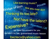 Guaranteed, no learn no fee music lesson in Aberdeen
