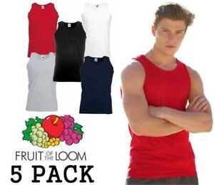 5-MENS-FRUIT-OF-THE-LOOM-VESTS-CHOOSE-YOUR-PACK-COLOUR-SIZE