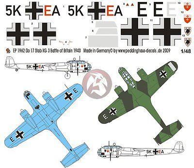 Peddinghaus 1/48 Dornier Do 17 Z-2 Markings Stab./KG 3 Battle of Britain 1962